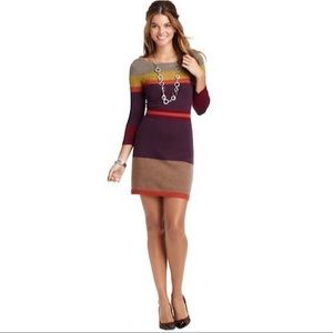 Loft Color Block Wool Blend Dress, sz Large